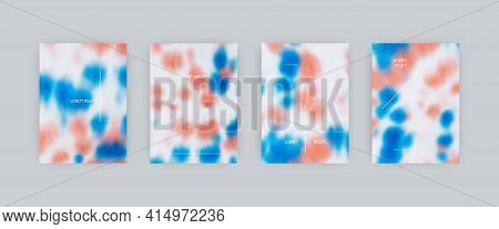 Set Of Vector Cover Templates. Blue And Pink Spots Hand Painted Psychedelic Tie Dye Blurred Backgrou