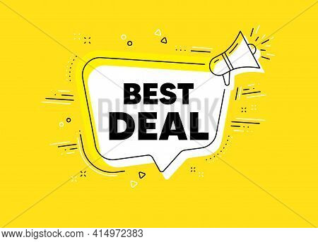 Best Deal. Megaphone Yellow Vector Banner. Special Offer Sale Sign. Advertising Discounts Symbol. Th