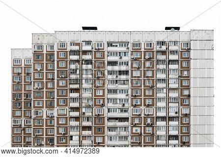The Facade Of A Multi-storey Residential Building With Many Windows. Old Houses Made Of Precast Conc