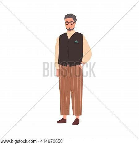 Portrait Of Elegant Senior Gray-haired Man In Modern Casual Clothes. Aged Employee In Stylish Trouse