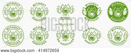 Concept For Product Packaging. Labeling - Without Additives. The Stamp With Wings, Drops And Liquid