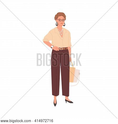 Portrait Of Smiling Businesswoman Standing In Formal Stylish Clothes. Woman In Trousers And Blouse.
