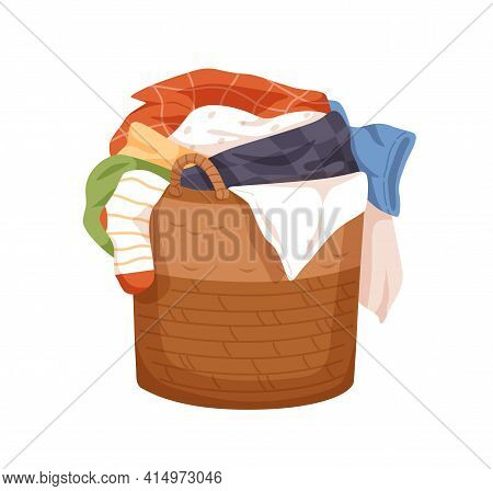 Laundry Wicker Basket With Pile Of Dirty Linen. Hamper Full Of Untidy Stained Clothes. Messy Heap Of