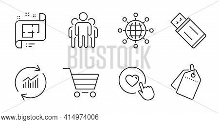 Sale Tags, Update Data And Usb Flash Line Icons Set. Like Button, Market Sale And Architectural Plan