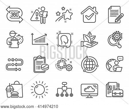 Science Icons Set. Included Icon As Restructuring, Head, Medical Prescription Signs. Globe, Sun Ener