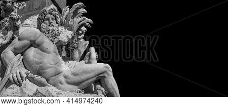 Greek Or Roman God. Marble Statue Of River Ganges Statue From Baroque Fountain Of Four River, Erecte