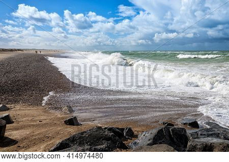 North Sea beach of Nørre Vorupør, Denmark, on a windy day
