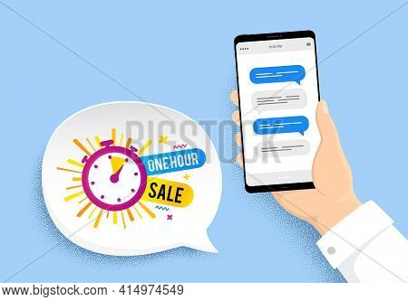 One Hour Sale Banner. Hand Holding Phone With Chat Messages. Discount Sticker Shape. Special Offer T