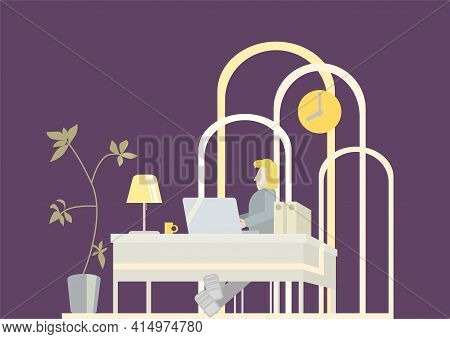 Unrecognizable Person At The Table With A Computer In The Office. Late Time For Remote Work