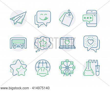Technology Icons Set. Included Icon As Sale Tags, Ferris Wheel, Phone Password Signs. Paper Plane, L