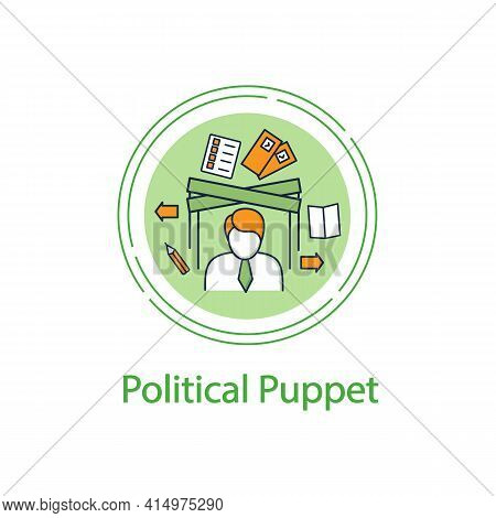 Political Puppet Concept Line Icon. Controlled President, Candidate, Politician. Hidden Power. Manip