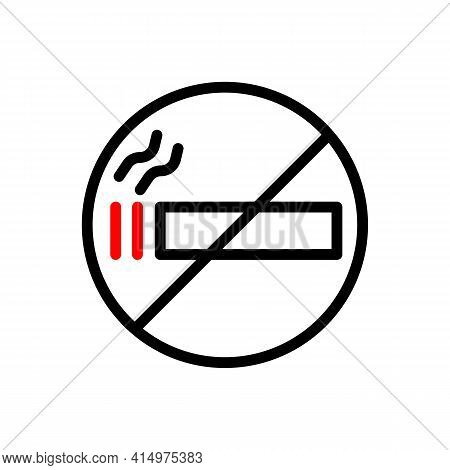 No Smoking Sign Thin Line Icon In Black. Tobacco, Addiction, Prohibition. Smoking Concept. Flat Isol