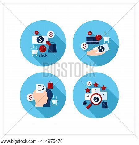 Mindful Spendings Flat Icons Set. Rating, Accountability Partner, One Click Buying, Cash Using. Buyi