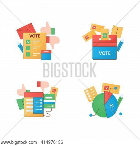 Election Flat Icons Set.election Box, Voting Machine, Voting Poll. Choice, Vote Concept. Democracy.