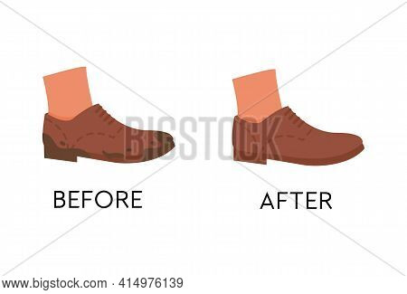 Before And After Dirty Shoe Cleaning Service. Unclean And Clean Footwear Care. Brown Color Flat Sole