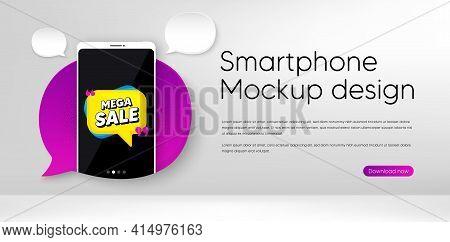 Mega Sale Bubble. Mobile Phone Vector Mockup. Discount Banner Shape. Coupon Sticker Icon. Smartphone