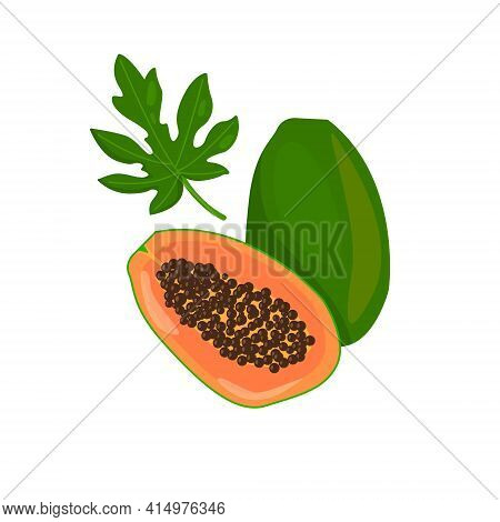 Whole Papaya With Half And Leaf Isolated On White Background.