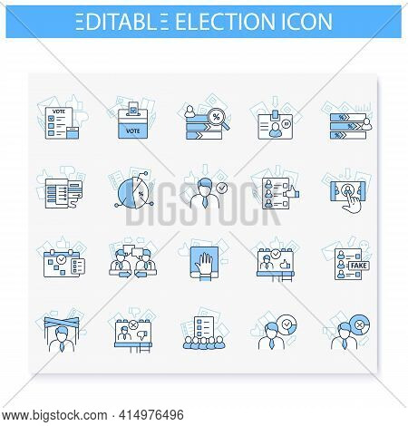 Election Line Icons Set. Voting Form, Ballot Or Checklist With Check Mark. Choice, Vote Concept. Dem