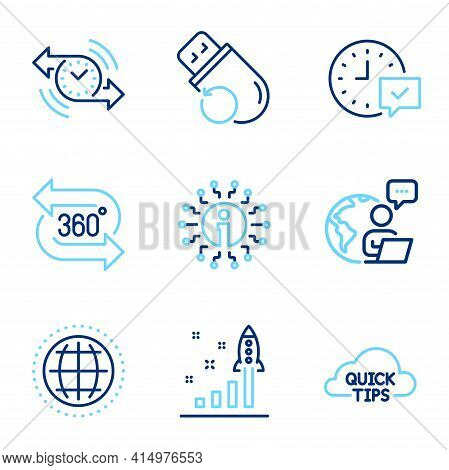 Technology Icons Set. Included Icon As Development Plan, Timer, Globe Signs. 360 Degree, Flash Memor