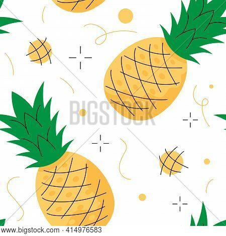 Pineapple Seamless Pattern. Stylized Pineapple On White Background.