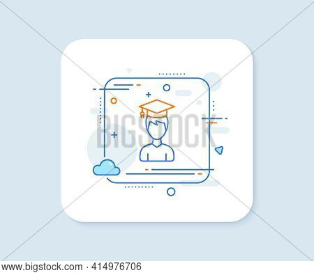Man In Graduation Cap Line Icon. Abstract Square Vector Button. Education Sign. Student Hat Symbol.