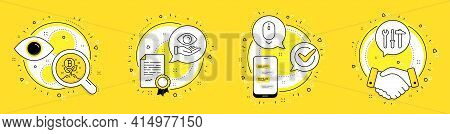 Scroll Down, Bitcoin Project And Health Eye Line Icons Set. Licence, Cell Phone And Deal Vector Icon