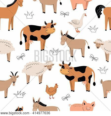 Seamless Pattern With Cute Farm Animals On A White Background. Cow, Donkey, Sheep, Horse, Chicken, P
