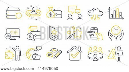 Set Of Education Icons, Such As Report Statistics, Keywords, Strategy Symbols. Meeting, Recruitment,