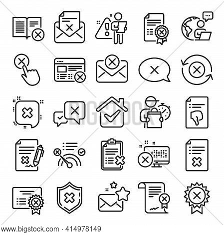 Reject Or Cancel Line Icons. Set Of Decline Certificate, Cancellation And Dislike Icons. Refuse, Rej