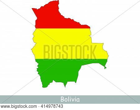 Bolivia Map Flag. Map Of Bolivia With The Bolivian National Flag Isolated On White Background. Vecto