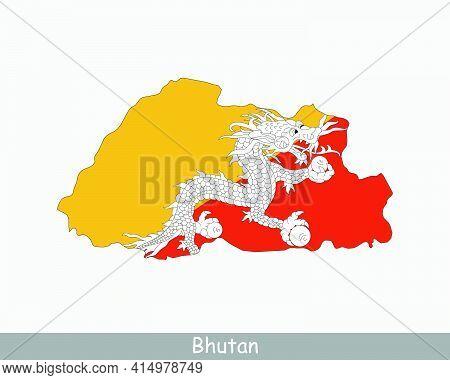Bhutan Map Flag. Map Of Bhutan With The Bhutanese National Flag Isolated On White Background. Vector