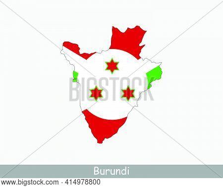 Burundi Map Flag. Map Of Burundi With The Burundian National Flag Isolated On White Background. Vect