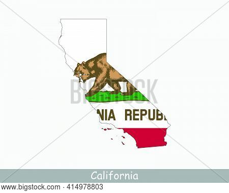 California Map Flag. Map Of California, Usa With The Californian State Flag Isolated On White Backgr
