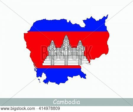 Cambodia Map Flag. Map Of Cambodia With The ...cambodian National Flag Isolated On White Background.