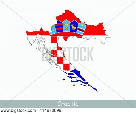 Croatia Map Flag. Map Of Croatia With The Croatian National Flag Isolated On White Background. Vecto