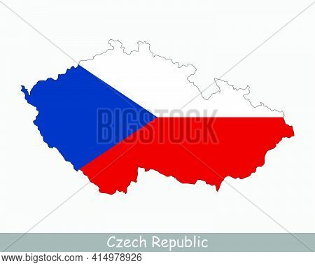 Czech Republic Map Flag. Map Of Czechia With The Czech National Flag Isolated On White Background. V