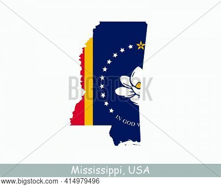 Mississippi Map Flag. Map Of Ms, Usa With The State Flag Isolated On White Background. United States
