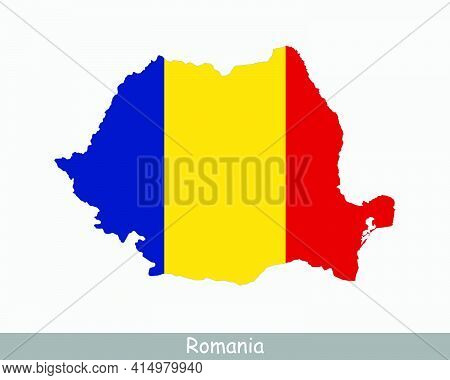 Romania Flag Map. Map Of Romania With The Romanian National Flag Isolated On A White Background. Vec