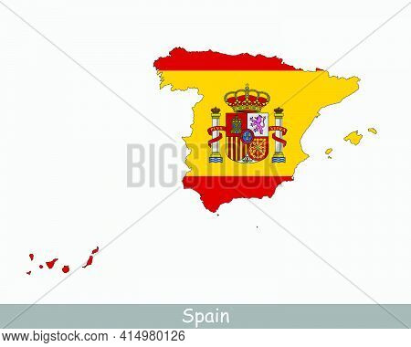 Spain Flag Map. Map Of The Kingdom Of Spain With The Spanish National Flag Isolated On A White Backg