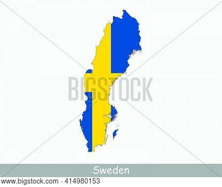 Sweden Flag Map. Map Of The Kingdom Of Sweden With The Swedish National Flag Isolated On A White Bac
