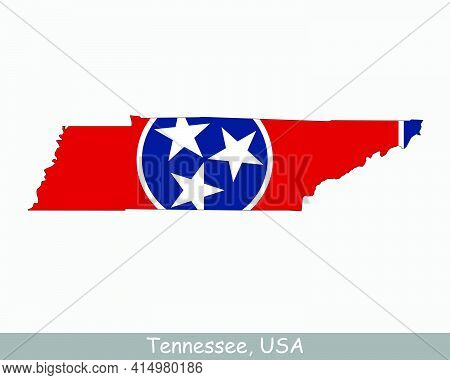 Tennessee Map Flag. Map Of Tn, Usa With The State Flag Isolated On A White Background. United States