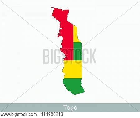 Togo Flag Map. Map Of The Togolese Republic With The Togolese National Flag Isolated On A White Back