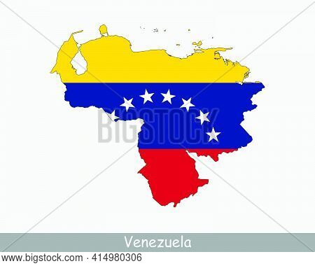 Venezuela Flag Map. Map Of The Bolivarian Republic Of Venezuela With The Venezuelan National Flag Is