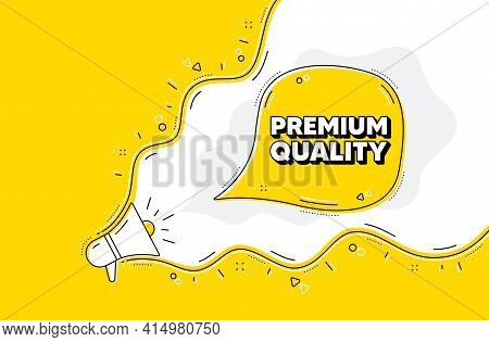 Premium Quality. Loudspeaker Alert Message. High Product Sign. Top Offer Symbol. Yellow Background W
