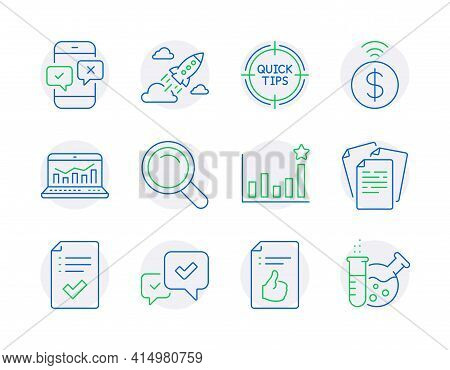 Education Icons Set. Included Icon As Tips, Approved Document, Startup Rocket Signs. Web Analytics,