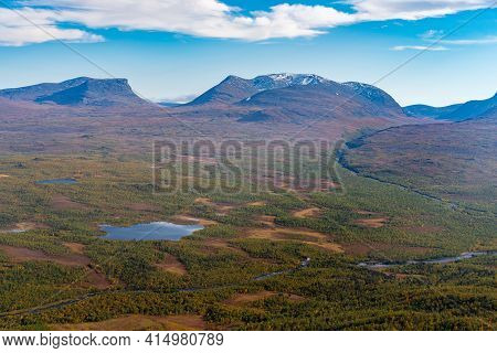 Lapponian Gate, Famous Mountain Pass In The Swedish Arctic In Beautiful Autumn Colors On A Sunny Day