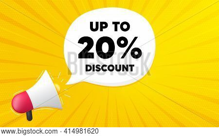 Up To 20 Percent Discount. Yellow Background With Megaphone. Sale Offer Price Sign. Special Offer Sy