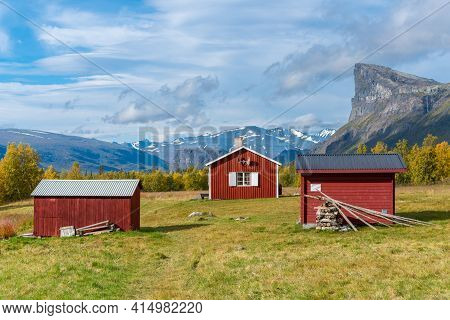 Red Wooden House In Arctic Wilderness. Aktse Mountain Cabin Deep In Sarek National Park, Sweden. Ant