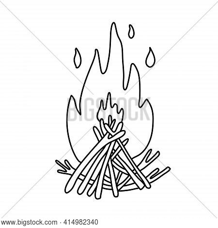 Campfire. Fire Flame And Branches. Hand Drawn Vector Illustration In Doodle Style On White Backgroun