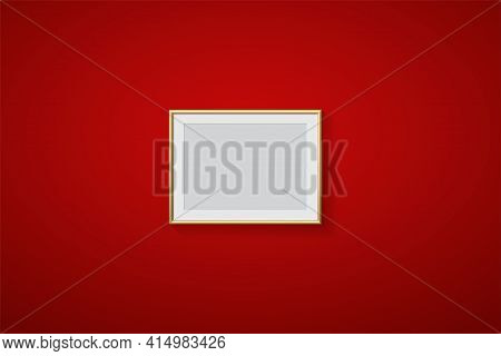 Golden Frame For Picture On Red Background. Gold Border On Blank Space For Picture, Painting, Card O